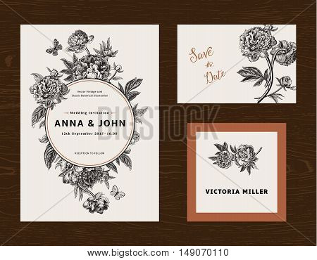 Wedding set. Menu save the date guest card. Black and white flowers peonies. Vintage vector illustration.