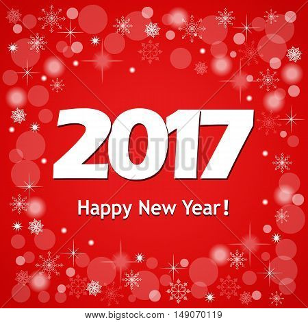 Festive colorful new year`s banner with text Happy New Year 2017 on the red background and snowflakes. Design for cover calendar new year 2017. eps 10.