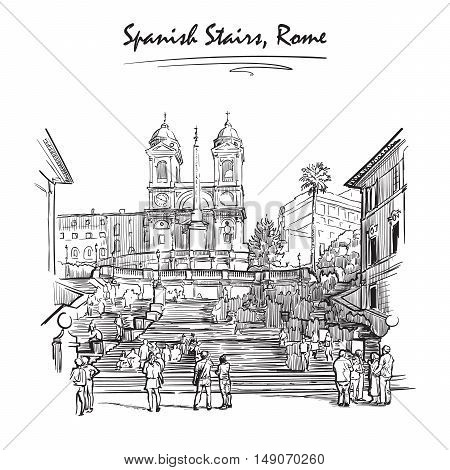 Spanish Stairs with tourists wandering around. Sketch isolated on white background. EPS10 vector illustration.