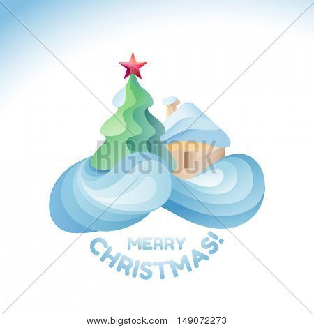 Flat design modern vector illustration for Christmas holiday with winter house and fur tree
