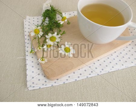Cup of chamomile tea and chamomile flowers