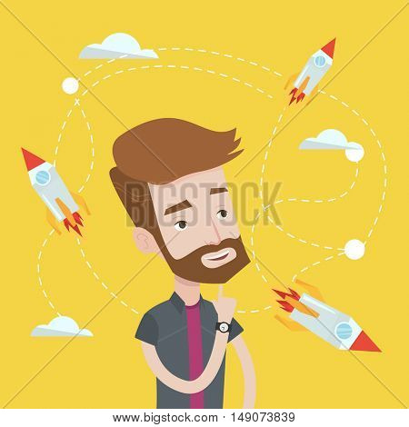 Hipster caucasian man with the beard looking at flying business rockets. Young man came up with an idea for a business startup. Business startup concept. Vector flat design illustration. Square layout
