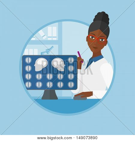 An african-american doctor looking at magnetic resonance images of the brain on a computer screen. Doctor analyzing MRI scan. Vector flat design illustration in the circle isolated on background.