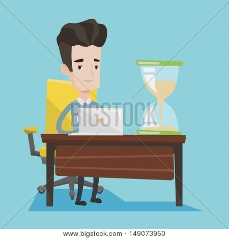 Businessman sitting at the table with hourglass on it. Worker coping with deadline successfully. Businessman working on laptop. Time management concept. Vector flat design illustration. Square layout.