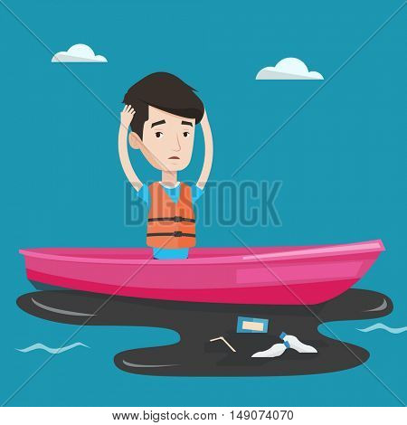 Sanitation worker working on boat to catch garbage out of water. Frustrated man clutching head while looking at oil spill. Concept of water pollution. Vector flat design illustration. Square layout.