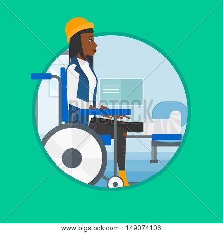 An african injured woman with leg in plaster. Woman with broken leg sitting in wheelchair. Woman with fractured leg in the hospital.Vector flat design illustration in the circle isolated on background