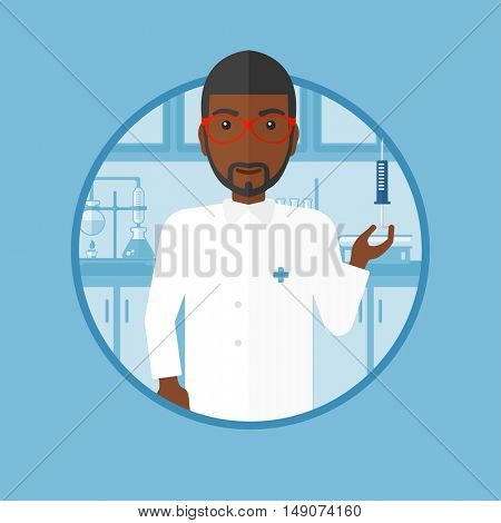 An african-american laboratory assistant holding syringe on the background of lab. Laboratory assistant making medical test. Vector flat design illustration in the circle isolated on background.