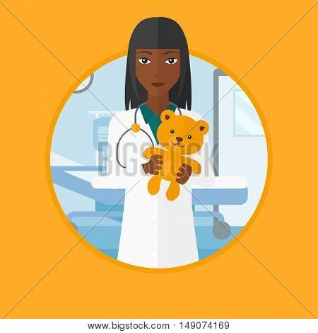 African-american pediatrician doctor holding a teddy bear. Professional pediatrician doctor with a teddy bear in the hospital room. Vector flat design illustration in the circle isolated on background