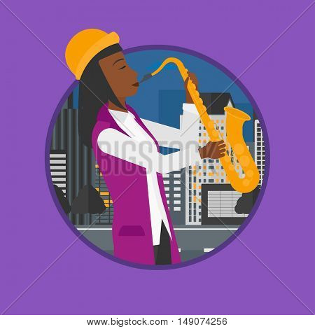African-american musician playing on saxophone. Woman playing on saxophone in the night. Woman with saxophone in the city street. Vector flat design illustration in the circle isolated on background.