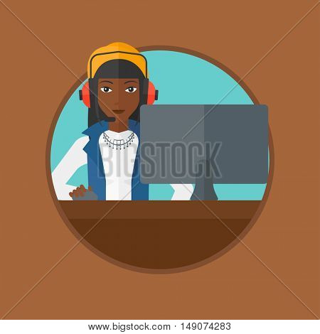 An african-american woman playing computer games. Gamer in headphones playing online games. Gamer using computer for playing game. Vector flat design illustration in the circle isolated on background.