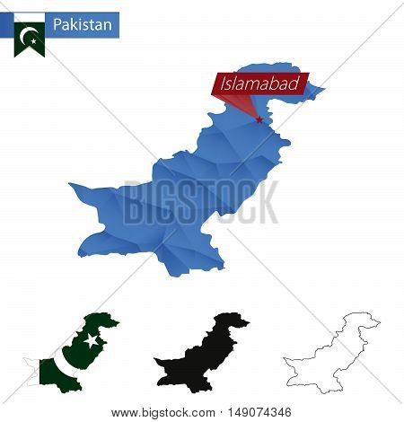 Pakistan Blue Low Poly Map With Capital Islamabad.
