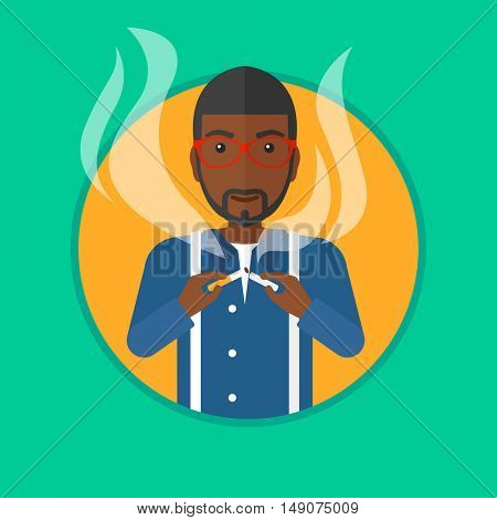 An african-american man breaking the cigarette. Man crushing cigarette. Man holding broken cigarette. Quit smoking concept. Vector flat design illustration in the circle isolated on background.
