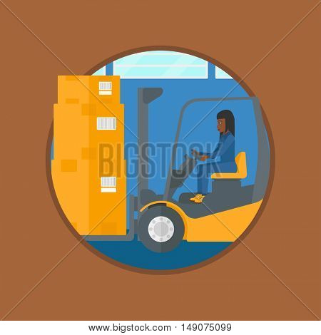 An african-american warehouse worker loading cardboard boxes. Forklift driver at work in storehouse. Worker driving forklift. Vector flat design illustration in the circle isolated on background.
