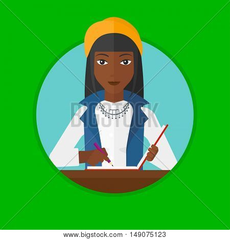 An african-american female journalist sitting at the table and writing in notebook with pencil. Young female journalist at work. Vector flat design illustration in the circle isolated on background.