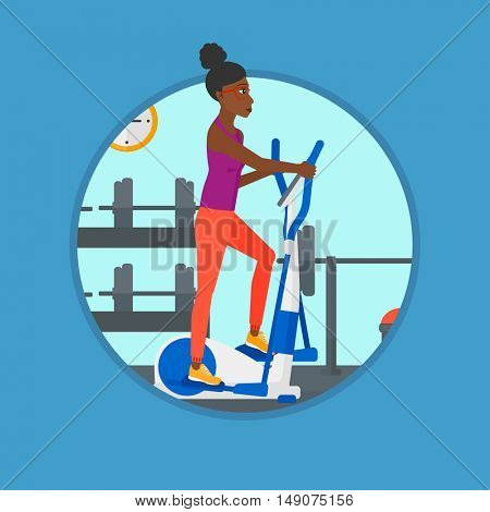 An african-american young woman exercising on elliptical trainer. Woman working out using elliptical trainer at the gym. Vector flat design illustration in the circle isolated on background.