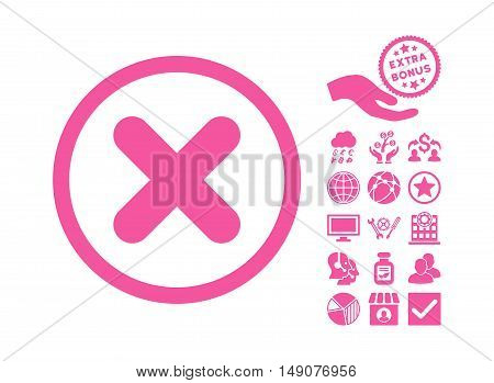 Cancel pictograph with bonus pictograph collection. Vector illustration style is flat iconic symbols pink color white background.