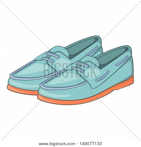 Denim loafers icon in cartoon style isolated on white background. Shoes symbol vector illustration