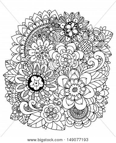 Vector illustration , flowers, mushroom Doodle drawing. Meditative exercise. Coloring book anti stress for adults. Black and white.