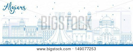 Outline Algiers Skyline with Blue Buildings. Vector Illustration. Business Travel and Tourism Concept. Image for Presentation Banner Placard and Web Site.
