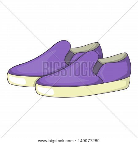 Purple loafers icon in cartoon style isolated on white background. Wear symbol vector illustration