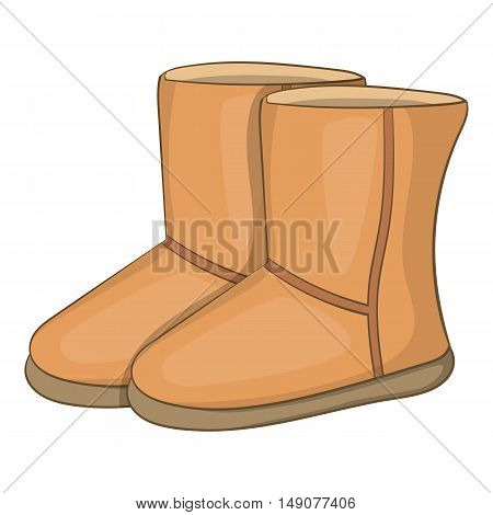 Winter ugg boots icon in cartoon style isolated on white background. Wear symbol vector illustration