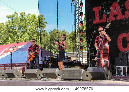 St. Petersburg, Russia - 12 August, The trio of musicians,12 August, 2016. Pop and rock musicians on Harley Davidson festival in St. Petersburg.
