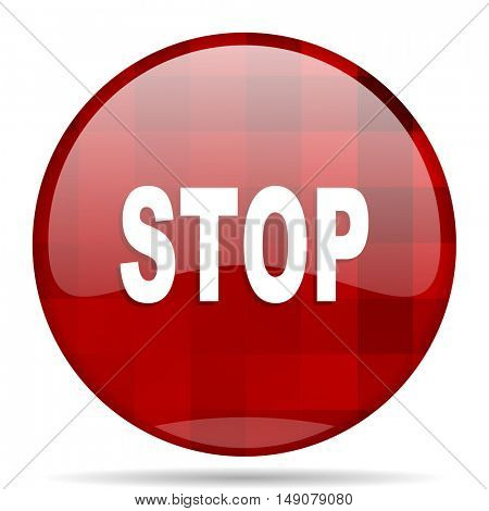 stop red round glossy modern design web icon