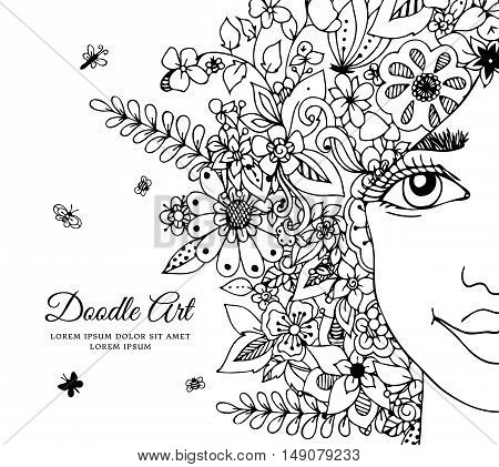 Vector illustration  girl with flowers in her hair. Doodle drawing. Meditative exercise. Coloring book anti stress for adults. Black and white.