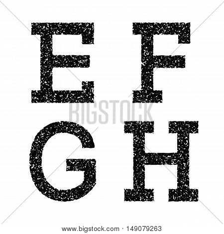 E F G H black stencil letters of grainy texture. Font in grunge style.