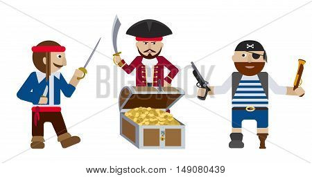 Split-up, Group of pirates with weapon near treasure chest full of golden coins flat vector illustration