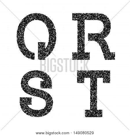 Q R S T black stencil letters of grainy texture. Font in grunge style.