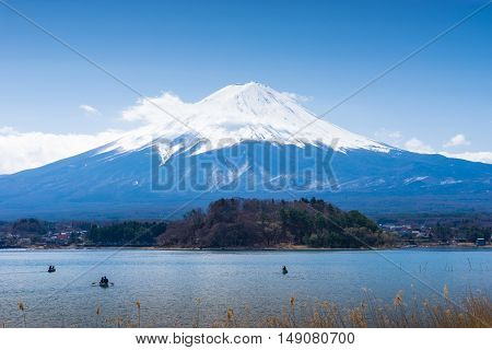 Fuji mountain with boat at kawaguchiko Japan