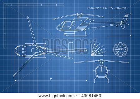 Engineering drawing helicopter on a blue background. Three views: top side front. Vector illustration