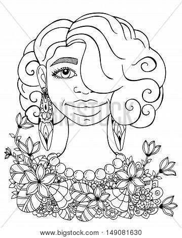 Vector illustration  , portrait of African American women in the flowers. Doodle drawing. Meditative exercise. Coloring book anti stress for adults. Black and white.