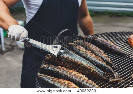 Chef cookind at grill grate. Plenty of mackerel fish grilled at barbecue. Mackerel and whole chicken bbq outdoors at picnic, party. Street food, meat and fish grill takeaway