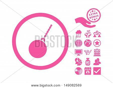 Destruction Hammer icon with bonus icon set. Vector illustration style is flat iconic symbols pink color white background.