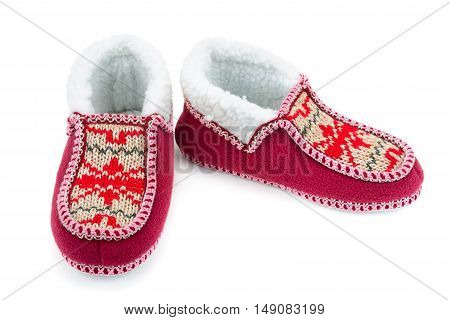 Red house slippers isolated on white background