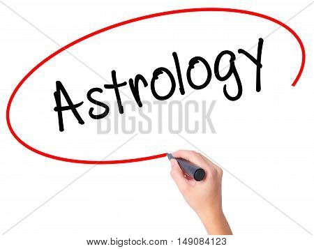Women Hand Writing Astrology With Black Marker On Visual Screen
