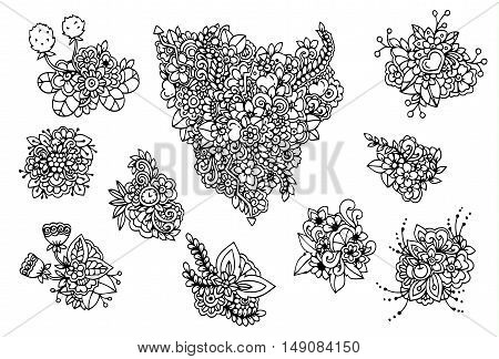 Vector illustration e, a set of flowers. Doodle drawing. Meditative exercises. Coloring book anti stress for adults. Black and white.