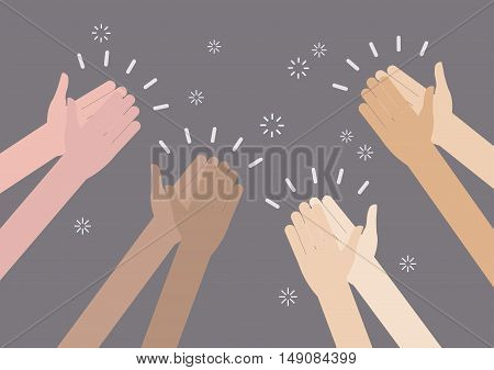 Human hands clapping ovation. vector illustration cartoon