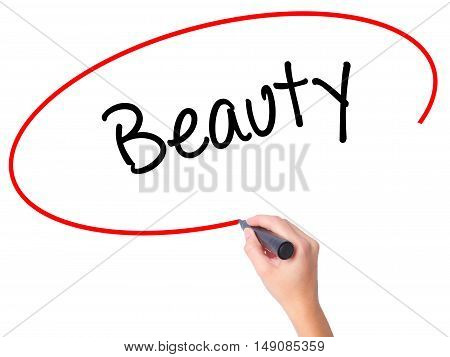 Women Hand Writing Beauty  With Black Marker On Visual Screen