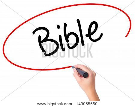 Women Hand Writing Bible With Black Marker On Visual Screen