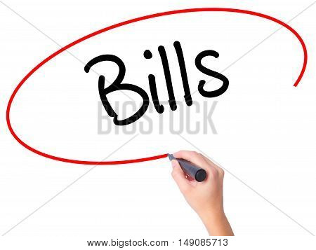 Women Hand Writing Bills With Black Marker On Visual Screen