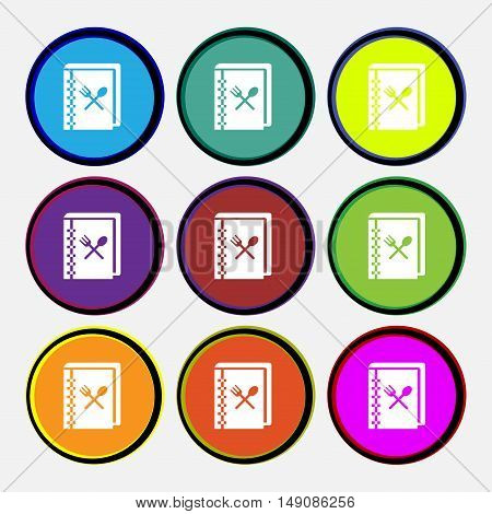Cook Book Icon Sign. Nine Multi Colored Round Buttons. Vector
