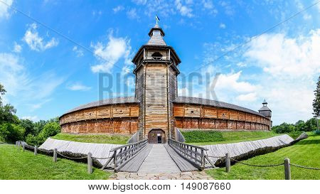 wooden fortifications. Baturin Fortress - Fortress in Baturin Chernigov region Ukraine. Built in 1625 on the bank of the river Seim poster