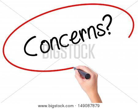 Women Hand Writing Concerns? With Black Marker On Visual Screen