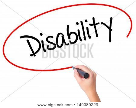 Women Hand Writing Disability With Black Marker On Visual Screen