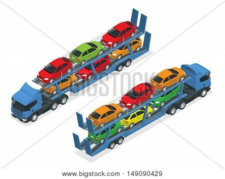 Isometric Car transport truck on the road with different types of cars flat vector illustration. The trailer transports cars.