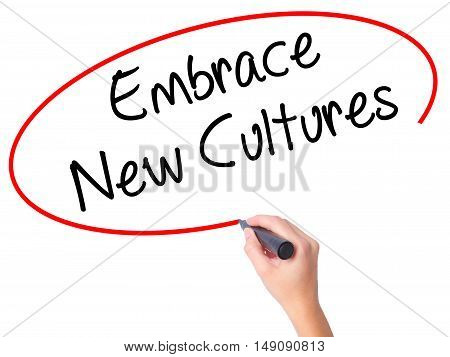 Women Hand Writing Embrace New Cultures With Black Marker On Visual Screen