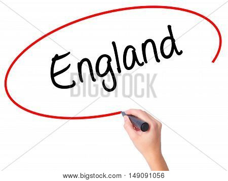 Women Hand Writing England With Black Marker On Visual Screen